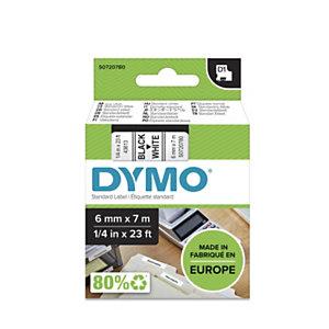 Dymo Ruban D1 6 mm S0720780 blanc écriture noire