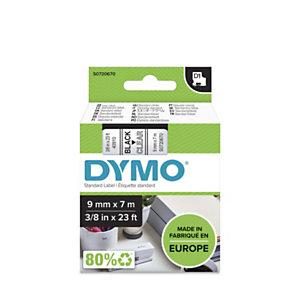 Dymo Ruban D1 9 mm S0720670 transparent écriture noire