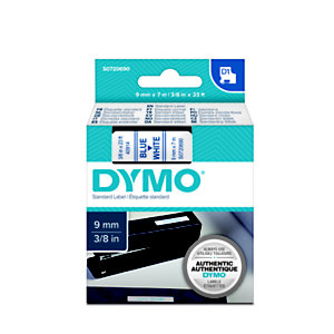 Dymo Ruban titreuse  D1 -  écriture Bleu / fond Blanc - 9 mm x 7 m - Modèle S0720690