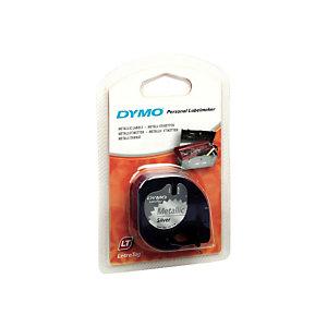 Dymo Ruban titreuse  LetraTag LT - matière  métal - écriture Noir / fond Argenté - 12 mm x 4 m - Modèle S0721730