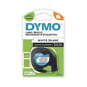 Dymo Ruban titreuse  LetraTag LT - Matière  plastique - Ecriture en Noir / fond Blanc - 12 mm x 4 m - Modèle S0721660