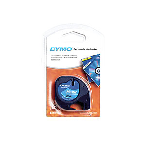 Dymo Ruban titreuse  LetraTag LT - matière  plastique - écriture Noir / fond Bleu - 12 mm x 4 m - Modèle S0721650