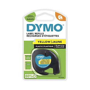Dymo Ruban titreuse  LetraTag LT - matière  plastique - écriture Noir / fond Jaune - 12 mm x 4 m - Modèle S0721620