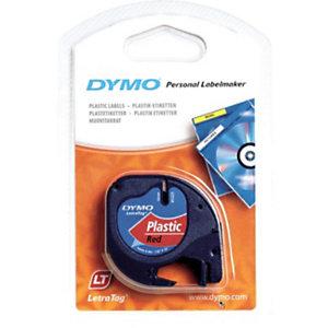 Dymo Ruban titreuse  LetraTag LT - matière  plastique - écriture Noir / fond Rouge - 12 mm x 4 m - Modèle S0721630