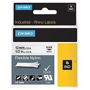 Dymo Rubans titreuse  Rhino - écriture Noir / fond Blanc - 12 mm x  Longeur 3,5 m - Nylon - Modèle 18488