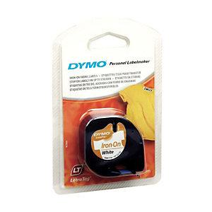 Dymo s0718850 Cinta LetraTAG negro sobre blanco planchado sobre tela 12 mm x 2 m