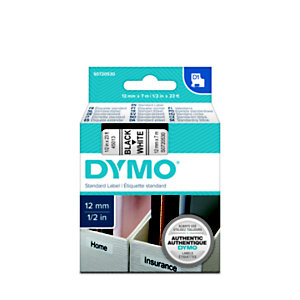 Dymo S0720530 D1 Cinta de etiquetas estándar negro sobre blanco 12mm x 7m
