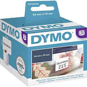 Dymo S0720540 LW grand format étiquettes polyvalentes bleu sur fond blanc 70 x 54mm