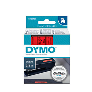 Dymo S0720720 D1 Estándar negro sobre rojo 9 mm x 7 m