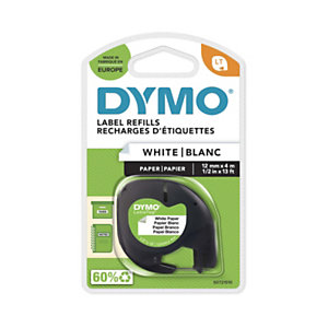 Dymo S0721510 ruban LetraTAG noir sur fond blanc papier 12mmx4m