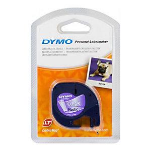 Dymo S0721530 Ruban d'étiquetage LetraTAG, noir sur fond transparent, 12 mm x 4 m