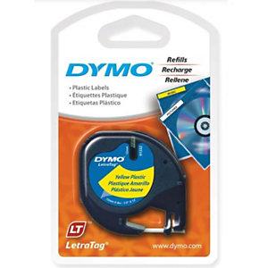 Dymo s0721620 Cinta LetraTAG negro sobre amarillo 12mm x 4m