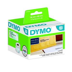 Dymo S0722410 LW, étiquettes d'adresse grand format, noir sur fond transparent, 89x36mm