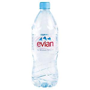 Eau plate Evian, en bouteille, lot de 12 x 1 L