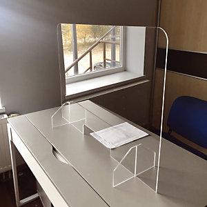 Ecran plexiglas pour Comptoir ou bureau modèle avec passe documents