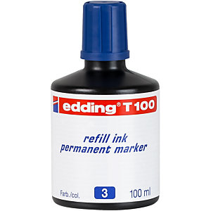 edding T-100 Tinta de recambio para marcador permanente, 100 ml, azul