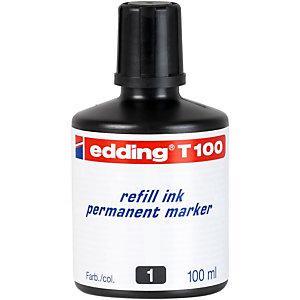 edding T-100 Tinta de recambio para marcador permanente, 100 ml, negro