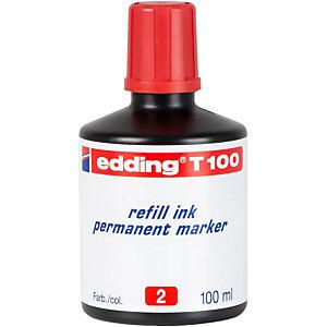 edding T-100 Tinta de recambio para marcador permanente, 100 ml, rojo