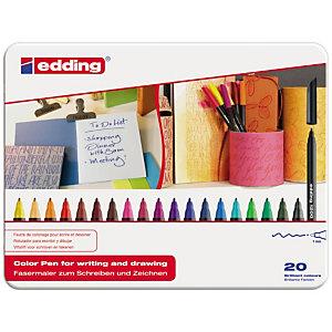 edding 1200, Rotulador de punta de fibra, punta fina, cuerpo negro, tinta de colores surtidos
