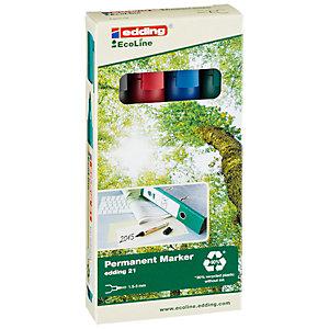 edding 21 EcoLine Marqueur permanent - 90% de plastique recyclé - pointe ogive 1,5 - 3 mm - Pochette 4 couleurs assorties