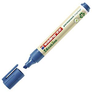 edding 22 EcoLine Marqueur permanent - 90% de plastique recyclé - pointe biseautée 5 mm bleu