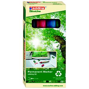 edding 22 EcoLine Marqueur permanent - 90% de plastique recyclé - pointe biseautée 5 mm - Pochette 4 couleurs assorties