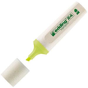 edding 24 EcoLine Evidenziatore a fusto piatto, Punta a scalpello, Spessore tratto 2 - 5 mm, Giallo (confezione 10 pezzi)