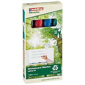 edding 28 EcoLine Marqueur effaçable tableau blanc - 90% de plastique recyclé - pointe ogive 1,5 - 3 mm - Pochette 4 couleurs