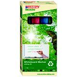 edding 28 EcoLine Rotulador de punta redonda para pizarra blanca, ancho de línea de 1,5-3mm, colores variados: negro, azul, rojo y verde