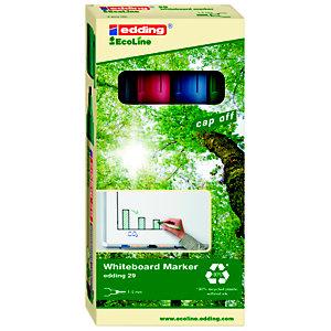 edding 29 EcoLine Marqueur effaçable tableau blanc - 90% de plastique recyclé - pointe biseautée 1 - 5 mm - Pochette 4 couleurs