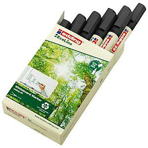 edding 29 EcoLine Rotulador de punta biselada para pizarra blanca, ancho de línea de 1-5mm, negro