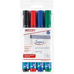 edding 380 Marqueur permanent spécial chevalet pointe ogive 1,5 - 3 mm - Pochette 4 couleurs assorties