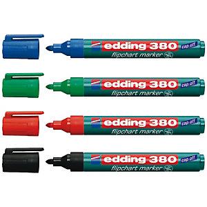 edding 380 Rotulador para rotafolios, punta ojival, 1,5-3 mm, negro, azul, verde y rojo