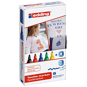 edding 4500, Rotulador para textil, punta mediana, 2-3 mm, colores surtidos, paquete de 5