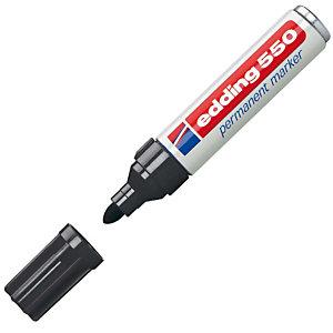 edding 550 Marcador permanente, punta ojival, 3-4 mm, negro