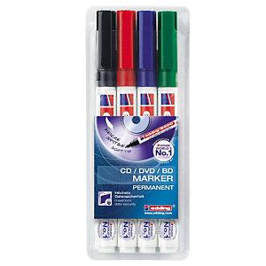 edding 8400 Rotulador permanente para CD/DVD/BD, punta ojival, 1 mm, negro, rojo, azul y verde
