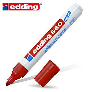 """edding Marcatore universale """" 660"""" - Punta conica - Colore rosso (confezione 10 pezzi)"""