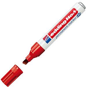 edding No.1 Marcador permanente, punta biselada, 1-5 mm, rojo