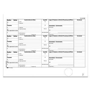 EDIPRO Blocco carico/scarico rifiuti - modello A - F.to 29,7 x 22 cm - uso mano - copie 100 (confezione 10 pezzi)