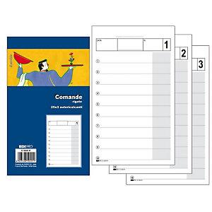 EDIPRO Blocco comande rigate, 9,9 x 17 cm, Autoricalcante, Copie 25 + 25 + 25 (confezione 30 pezzi)