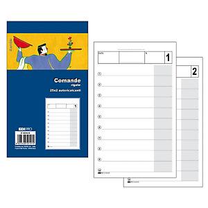 EDIPRO Blocco comande rigate, 9,9 x 17 cm, Autoricalcante, Copie 25 + 25  (confezione 40 pezzi)