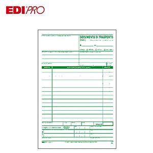 EDIPRO Blocco documento di trasporto, 14,8 x 23 cm, Carta autocopiante, Copie 33+33+33 (confezione 10 pezzi)
