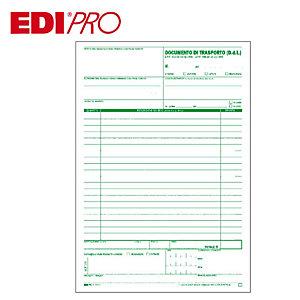 EDIPRO Blocco documento di trasporto, 22,5 x 29,7 cm, Carta autocopiante, Copie 25+25+25+25 (confezione 10 pezzi)