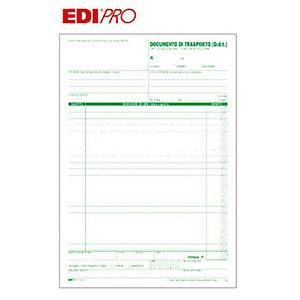 EDIPRO Blocco documento di trasporto, 22,5 x 29,7 cm, Carta autocopiante, Copie 50+50 (confezione 10 pezzi)