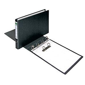 Elba Carpeta de 4 anillas de 35 mm, A3 apaisado, cartón forrado, lomo 50 mm, negro