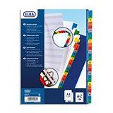 Elba Jeu intercalaires alphabétiques 26 touches en carte blanche, onglets de couleur format A4 Maxi