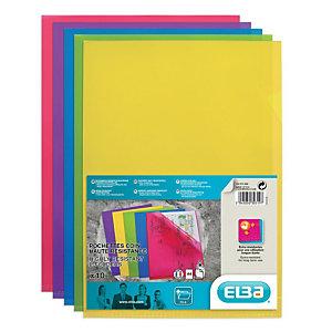 ELBA Pochettes coin  A4, ouverture en L, en PVC 15/100e, capacité 25 feuilles -coloris assortis néon (lot de 10)
