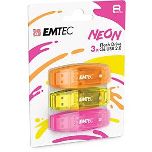 EMTEC C410 Néon - Clé USB 2.0 - 8 Go - Pack de 3 - Coloris assortis
