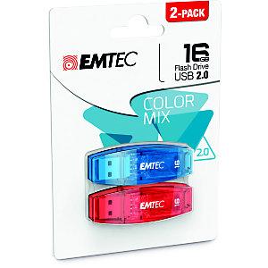 EMTEC Set 2 Pen Drive C410 Color Mix, USB 2.0, 16 GB, Assortiti