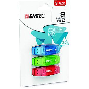 EMTEC Set 3 Pen Drive C410 Color Mix, USB 2.0, 8 GB, Assortiti